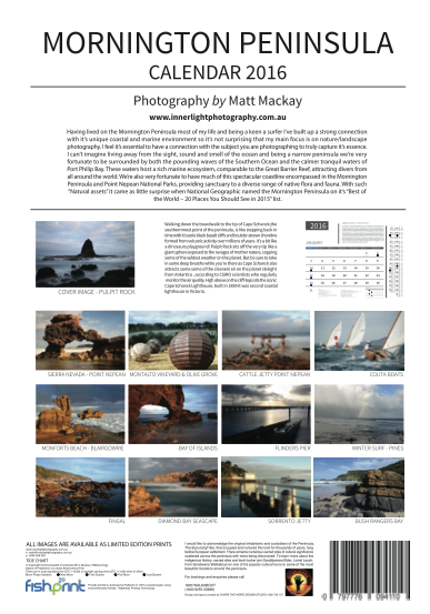 2016 Mornington peninsula Calendar backpage